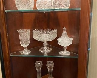 Combo of press and some cut crystal pieces.  The candlesticks are newer by Mikasa.