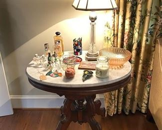 Eastlake victorian walnut marble top table (1 of 2 very similar in size).   Drapes also for sale, custom made and lined.
