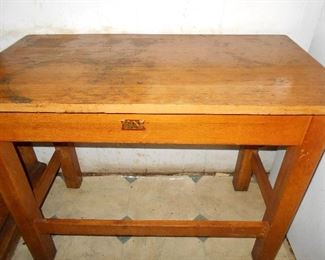 Mo-Tex pine library table Made in Taylor Texas label
