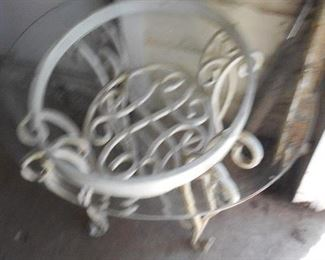 Wrought iron  lamp table with glass  top