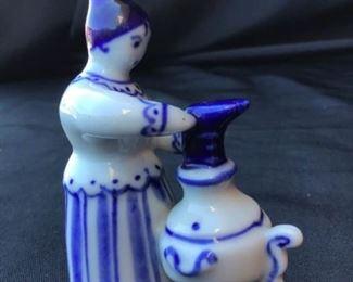 Gzhel Russian Porcelain Figurine Woman with a Samovar