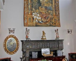 Antique French Clock, Tapestry,Brass Figurines