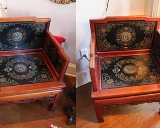 Two Slate Oriental-Style Chairs With Floral Design