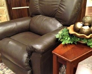 Leather recliner and side table