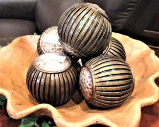 Decorative balls and bowl