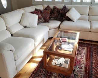 Contemporary Sofa. Glass/Wood Coffee Table. Persian Wool Rug. Decorator Carpet Pillows.