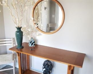 Mission Style Danish/Scan Design Entry Table. Round Mirror.