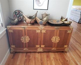 A beautiful...Asian Style Credenza/Buffet/Cabinet. A wonderful collection of India Metal items, India PaperMache and Metal items, and Japanese Cloisonne Plate.