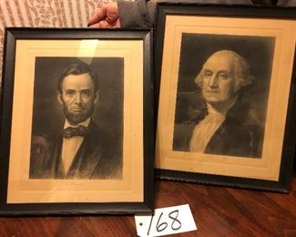 "Lot 168 Antique Lithograph Pictures: Abraham Lincoln, George Washington 14"" x 18"""