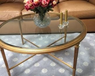 Ethan Allen glass top coffee table