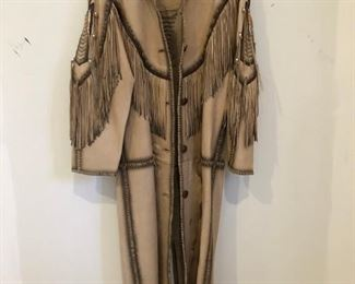 Full Length Custom Made Leather Fringe Coat $800.00