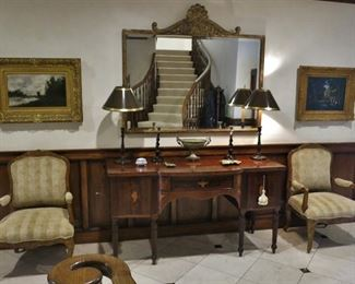 Very Fine American Federal Flame Mahogany Inlaid Sideboard; Large Classical Gold Leaf Beveled Mirror; Pair of Wide French Provincial Armchairs; Pair of Wood Candlestick Lamps