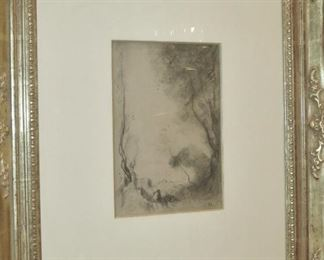 """Peasants in a Landscape"" Original Charcoal Sketch by Jean Baptiste Camille Corot"