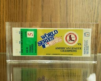 1985 World Series unused ticket in plexiglass