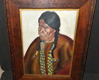 """L10=""""Portrait of Scalping Woman - Wife of Night Shots"""", oil on board after Winold Reiss (1928 Great Northern RR calendar), 10""""x14"""" in period Arts & Crafts frame:  $ 130."""