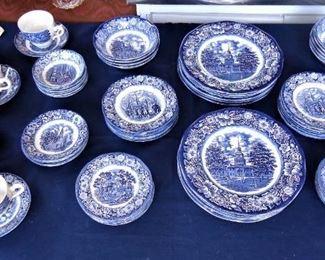 "L45=61 pieces Liberty Blue ""Historic Colonial Scenes"" Staffordshire ironstone:  $ 160./set"