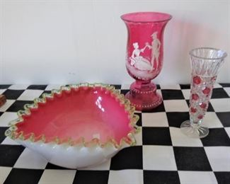 """L47=(left) tricorn art glass bowl (9""""D):  $ 20.                   L48=(center) Mary Gregory ruby vase (8.25""""):  $ 28.             L49=(right) Ruby flashed bud vase (6.5""""):  $ 4."""