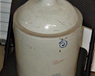 L4= Red Wing 5 gallon stoneware jug ( minor foot and lip chips ):  $70.