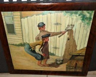 """L18= """"Tom Sawyer & Huck""""; oil on board (24""""x19""""):          $  75."""