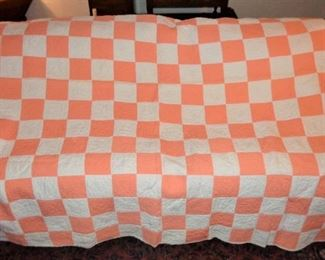"""L31=""""Creamsicle"""" orange/white checkerboard quilt (70""""x78""""):  $ 60.     (midcentury or so, lightly faded)"""