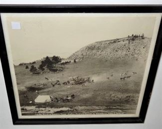 """L15=L.A. Huffman photo (vintage reprint) """"The Roundup Breaking Camp"""", (9.5""""x11"""":  $ 18."""