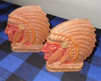 L21=Indian Chief bookends (Syroco wood):  $15./ pair