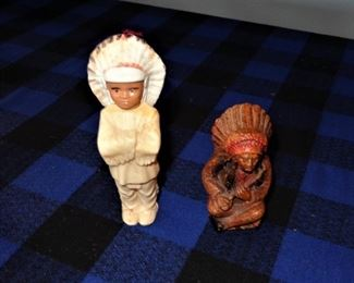 """L22=(left) Plastic Indian chief (5.5""""):  $ 3.                           L23=(right) Syroco wood souvenir Indian chief (4""""):          $ 8."""