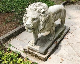 Pair of 17th C Italian marble lions J J Haverty collection
