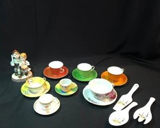 Various Teacups and Figurine Occupied Japan