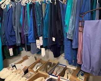 The shoes are in great shape, and this closet is full of pants.  See all the tags?