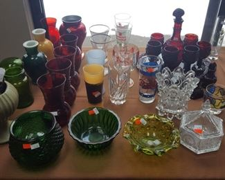 Vintage glassware and bowls, and vases. Avon Ruby Red Set.