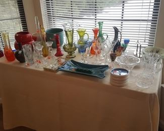 Waterford Crystal, various colored glassware.