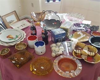 Vintage ashtrays, pie plates, glassware's.