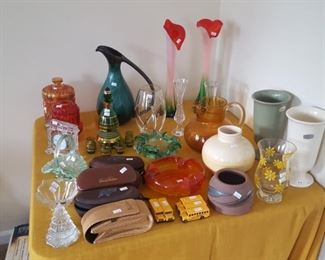 Carnival glass, Tiffany and Co, Waterford, Fenton and Various others.