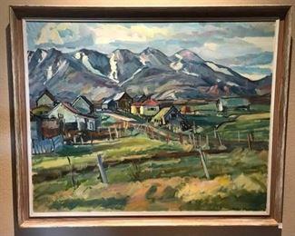 Framed Landscape Painting by Petur Fridrik