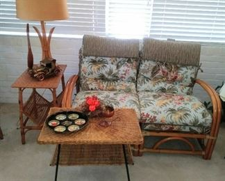 2 Pc. Rattan Settee, Tables...and a Great Lamp
