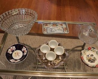 SET OF 4 .925 DEMITASSE CUPS $125  DECOATIVE GLASS ITEMS INCLUDIG VAL ST. LAMBERT, ROSENTHAL, ANTIQUE CUT GLASS