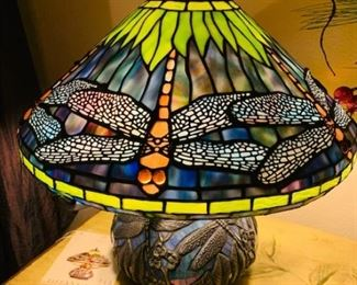 Tiffany Brand Stained Glass Lamp with Dragonfly