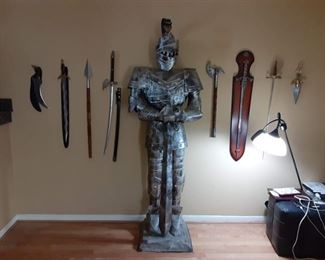 7' Suit of Armor Knight, Ceremonial Swords & Knives