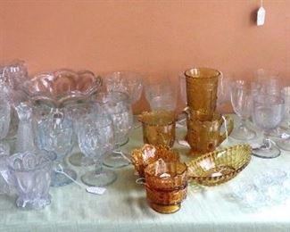 Lots of Early American Pressed Glass and Flint Glass.