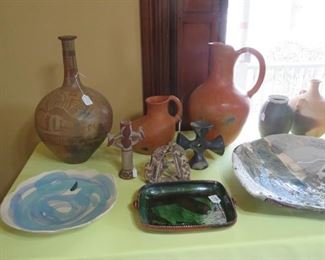Variety of Oaxacan and other Studio Pottery including a Paul Soldner early plaque.