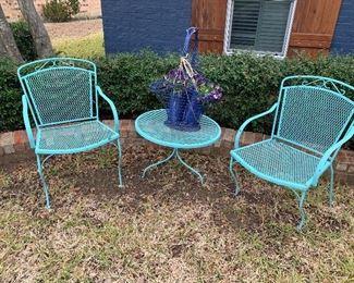 Vintage metal mesh patio set