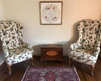 Matching high back chairs, wool rug, framed needlepoint, hand made child's wood box