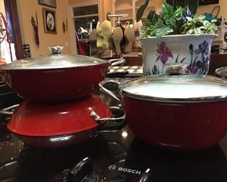 Wolfgang Puck Red Enamel Ware One Medium Covered Pot  One Large Covered Pot One Frying Pan  with Handles & Lid
