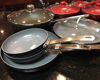 """Collection of Todd English Green Pan Pots 12"""" Frying Pan  with Lid 11"""" Frying  Pan with Lid     8"""" Frying Pan with Lid    9"""" Sauce Pan with Lid"""