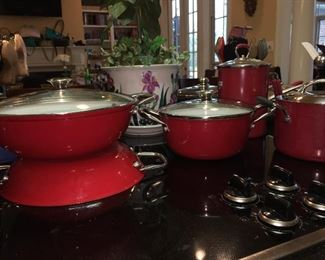 Large Collection of Red Pots, Enamel Ware, Red Pottery Dishes & Casserole Dishes