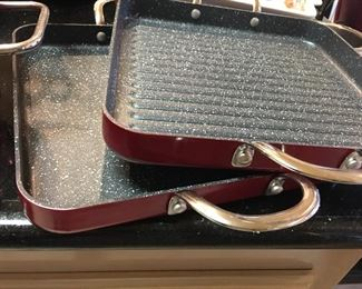 (2) Beautiful Curti/ Stone Red Ceramic Grilling Pans with Handles (Never Used)