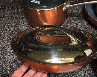 "Todd English Titan Copper Collection 2.5 Qt. Sauce Pan 3  Qt. Sauce Pan 11""  Fry Pan 8"" Fry Pan 9.5"" Fry Pan"