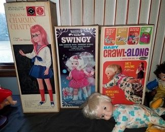 Vintage toy dolls in boxes (Talking Charmin' Chatty, Swingy, Baby Crawl-along)