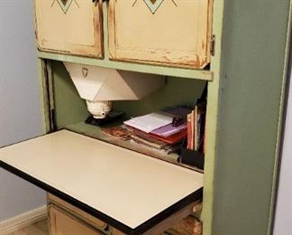Hoosier cabinet enameled and open